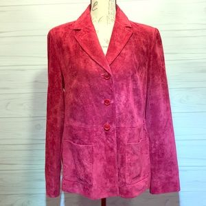 NWOT Red Leather Blazer Jacket Size Large